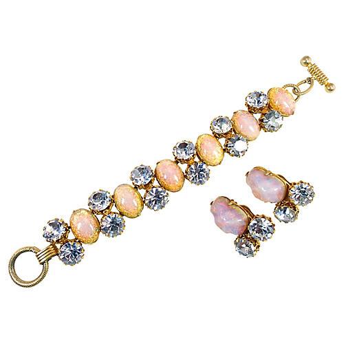 Schiaparelli Opal Glass Bracelet Suite