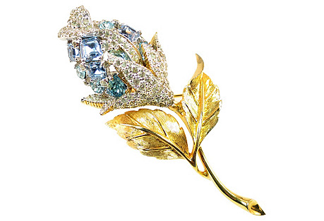 Ciro Blue Crystal Rose Brooch