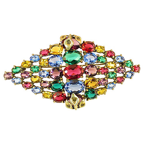 1920s Czech Jewel-Tone Crystal Brooch