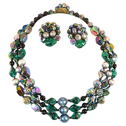 1950s Emerald Art Glass Necklace Suite