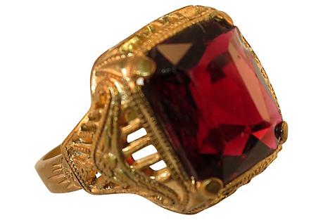 1920s Uncas Filigree Garnet Ring