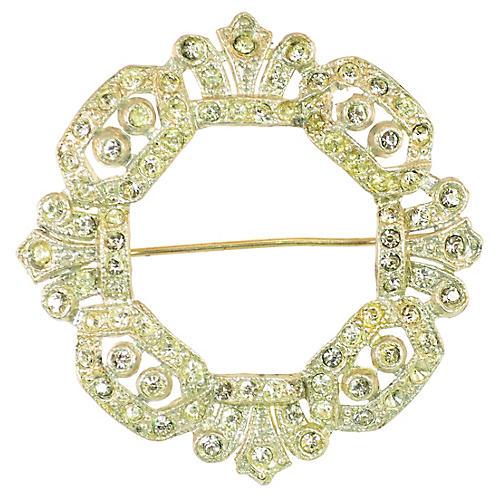 1920s Crystal Wreath Brooch