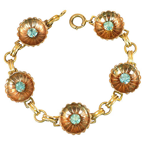 1940s Iskin Blue Crystal & Cups Bracelet