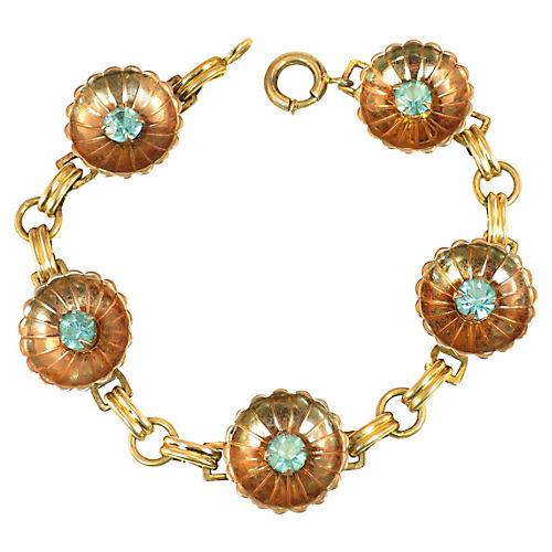 1940s Iskin Blue Crystal Bracelet