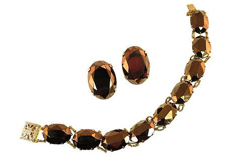 Mirrored Bronze Crystal Bracelet Suite