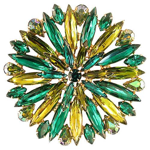 1950s Emerald & Citrine Crystal Brooch