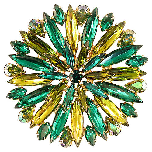 1950s Emerald & Citrine Crystal Brooch