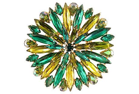 Emerald & Citrine Crystal Brooch