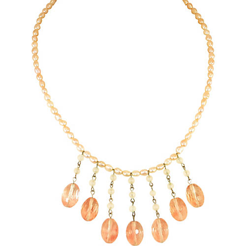 1950s Peach Crystal Pink Pearl Necklace