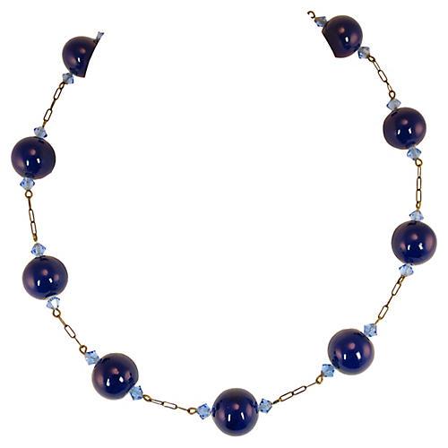 Edwardian Cobalt Globes Necklace