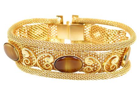 1950s Mesh & Tiger's Eye Glass Bracelet