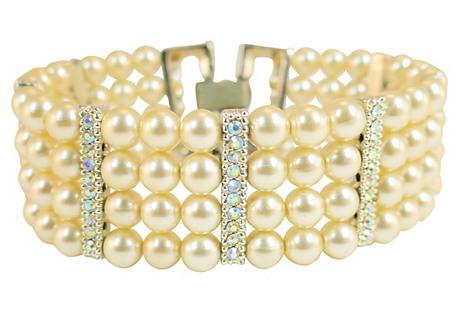 1960s Faux Pearl & AB Crystal Bracelet