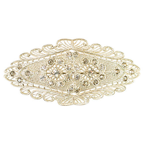 Edwardian Filigree Crystal Brooch