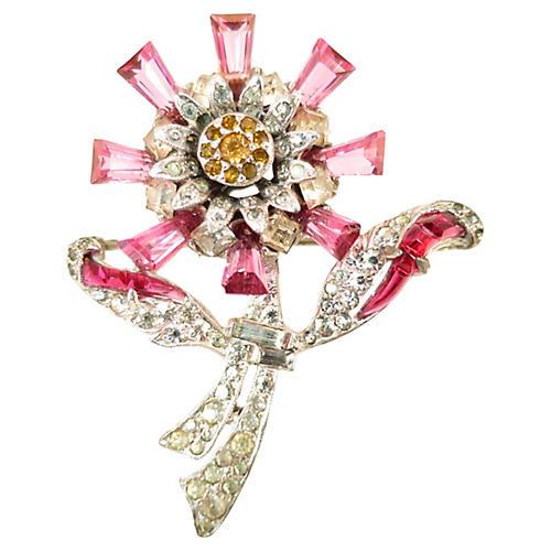 1930s Fuchsia Crystal Floral Brooch