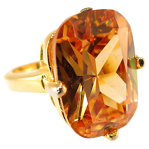 1970s Madeira Citrine CZ Ring