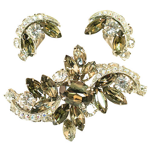 Weiss Black Diamond Brooch & Earrings