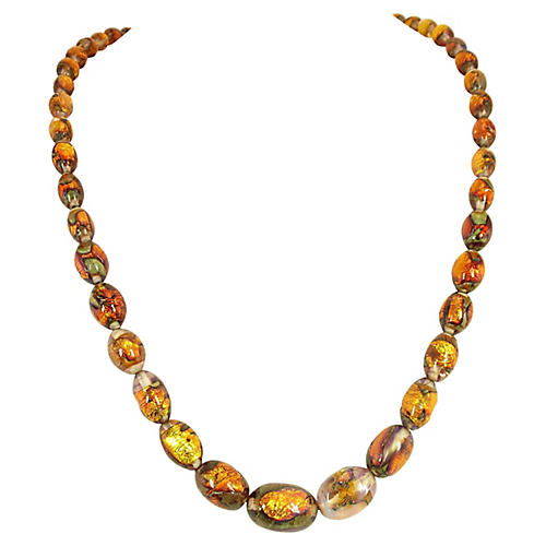 Venetian Foiled Fire Opal Glass Necklace