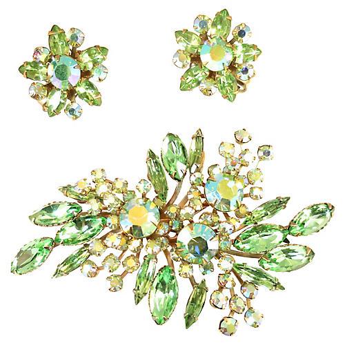 1950s Beau Jewels Peridot Brooch Set
