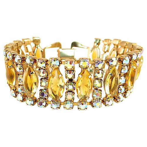 1950s Citrine & AB Crystal Bracelet