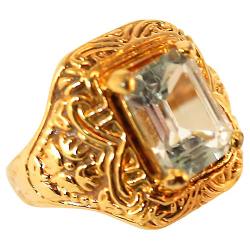 1970s Aqua Crystal Ring