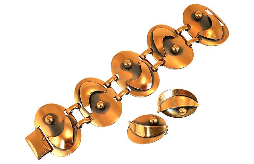 1950s MCM Renoir Copper Bracelet Set