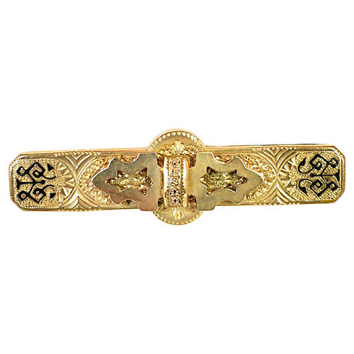 Victorian 14k Enameled Bar Brooch