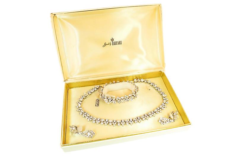 1950s Trifari Crystal Necklace Set