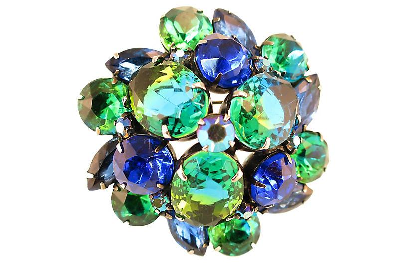 1950s Kramer Sapphire Emerald Brooch