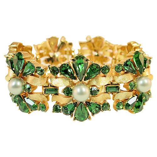 1950s Trifari Crystal & Pearl Bracelet