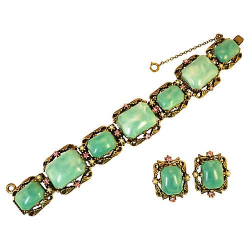 1940s Selro Faux Jade Bracelet Set