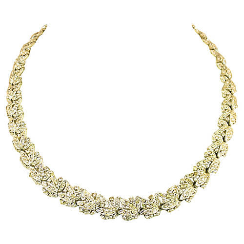 1920s Art Deco Floral Crystal Necklace