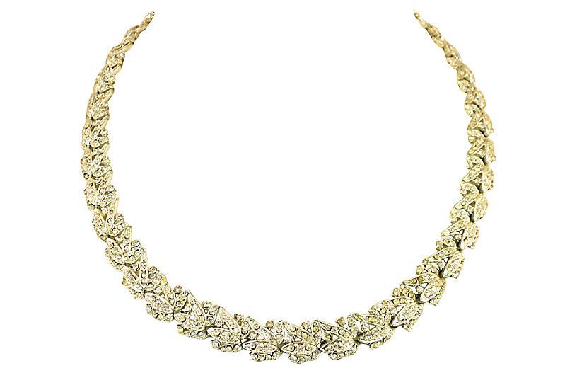 1920s Art Deco Floral Crystal Necklace
