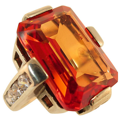 1960s Deco-Style Sterling Citrine Ring