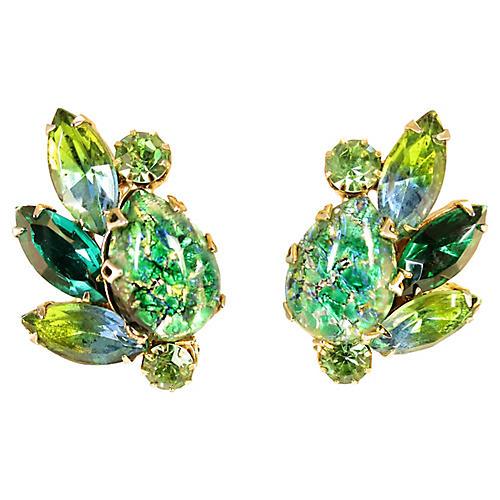 1950s Weiss Green Art Glass Earrings
