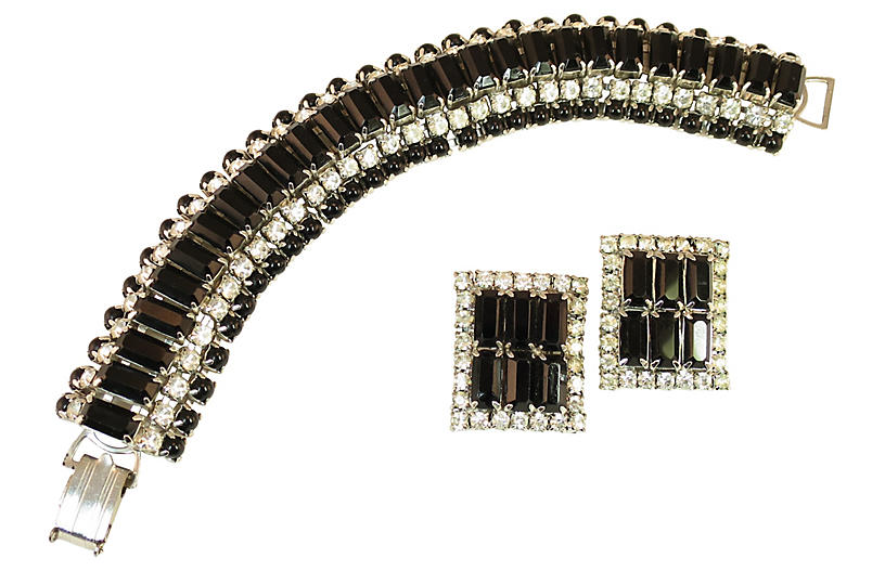 1950s Black Jet Cocktail Bracelet Set