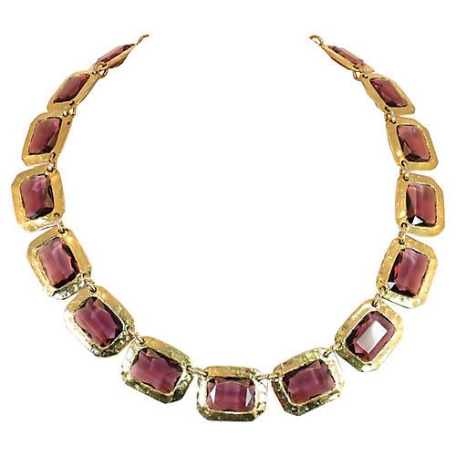 1960s Modernist Amethyst Glass Necklace