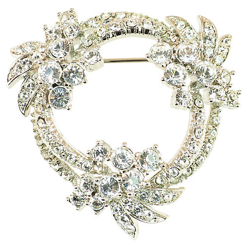 1960s Floral Wreath Crystal Brooch