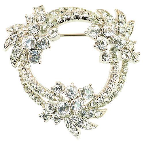 1960s Floral Wreath Crystal Brooch