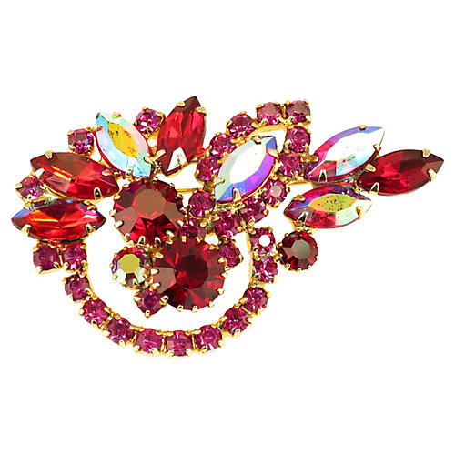 1950s Ruby Crystal Brooch