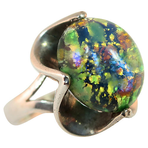 1960s Sterling Mexican Opal Ring