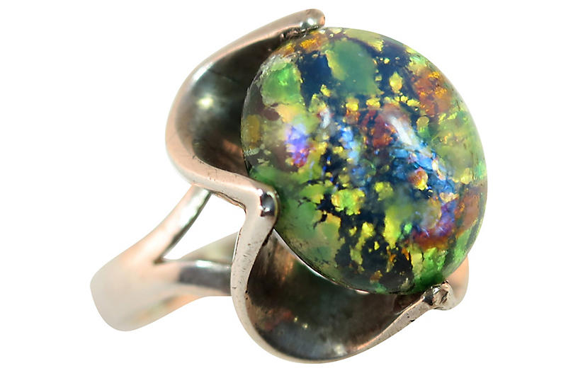 1960s Mexican Sterling Opal Glass Ring