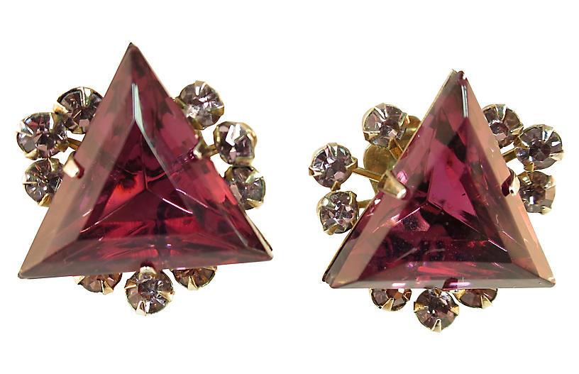 1950s Judy Lee Amethyst Earrings
