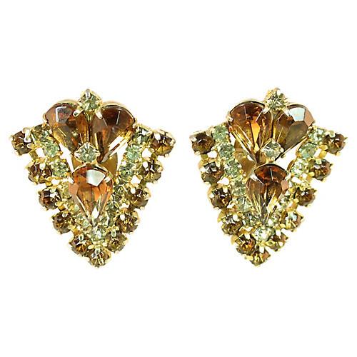 1950s Topaz Crystal Chevron Earrings