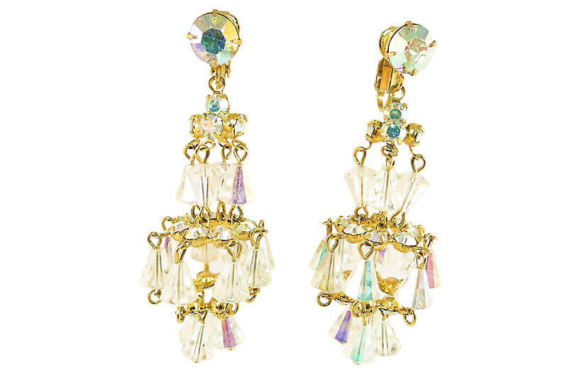 1950s Designer Chandelier Earrings