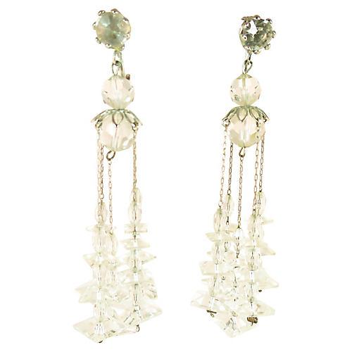 1950s Crystal Disc Chandelier Earrings