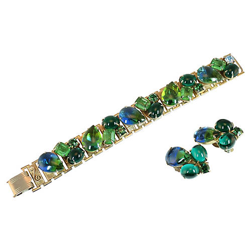 Blue Green Art Glass Bracelet Set 1950s