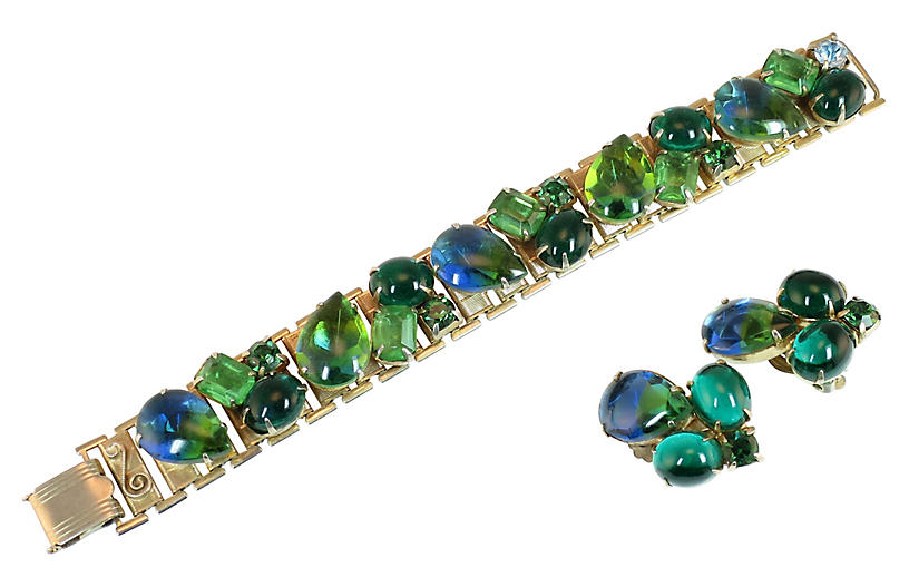'50s Blue & Green Art Glass Bracelet Set