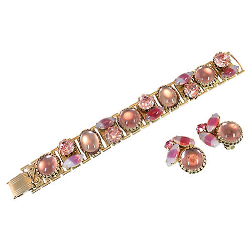 1950s Pink Art Glass Bracelet Set