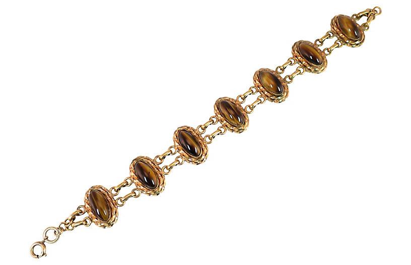 1940s Tigers Eye Link Bracelet