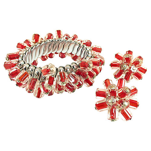 1950s Ruby Cased-Crystal Bracelet Set
